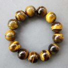 16mm Genuine Big Tiger Eye Gem Beads Bracelet  T2617