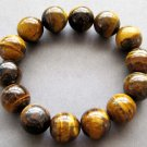 14mm Genuine Tiger Eye Gem Beads Bracelet  T2618
