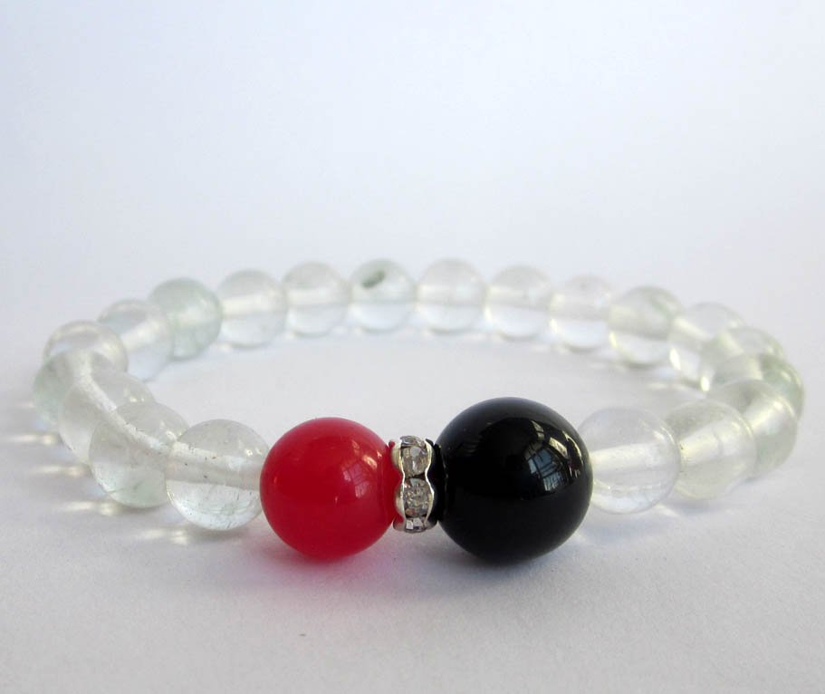 Watermelon Stone Red Black Agate Acrylic Diamond Beads Bracelet  T2626