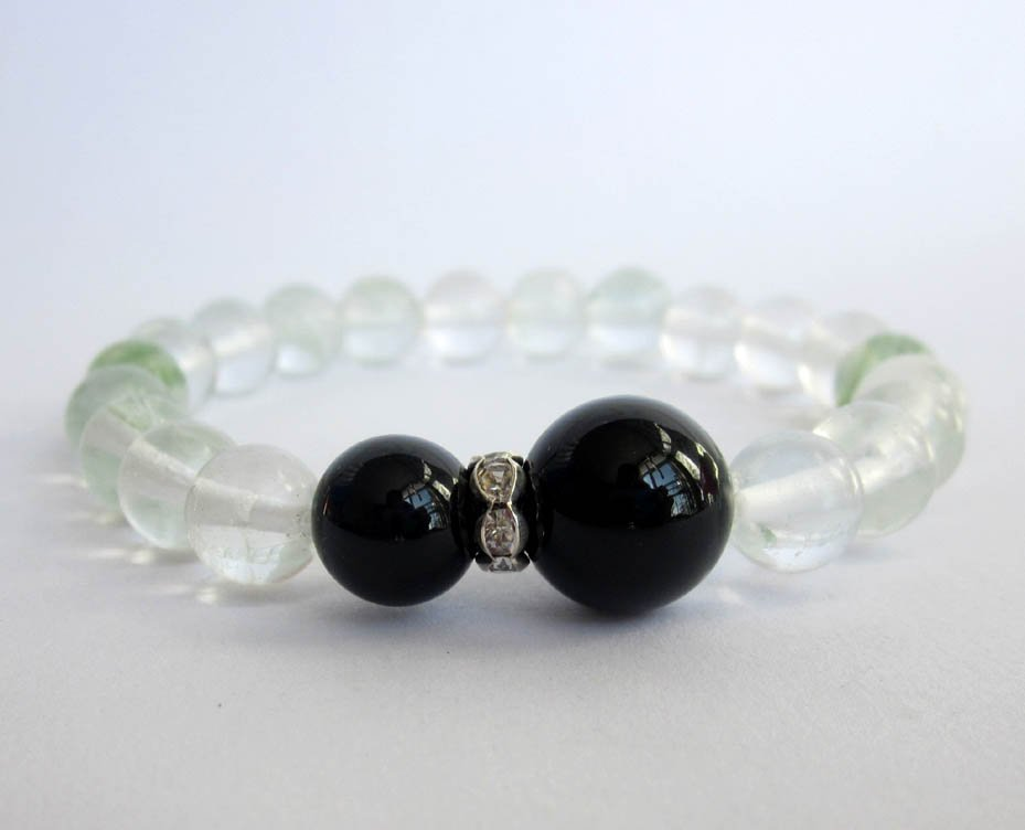 Green Watermelon Stone Black Agate Beads Bracelet  T2628
