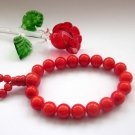 10mm Red Stone Beads Buddhist Prayer Wrist Mala  T2636