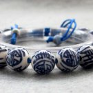 10mm Hand Crafted Porcelain Happy And Long Life Beads Bracelet  T2654