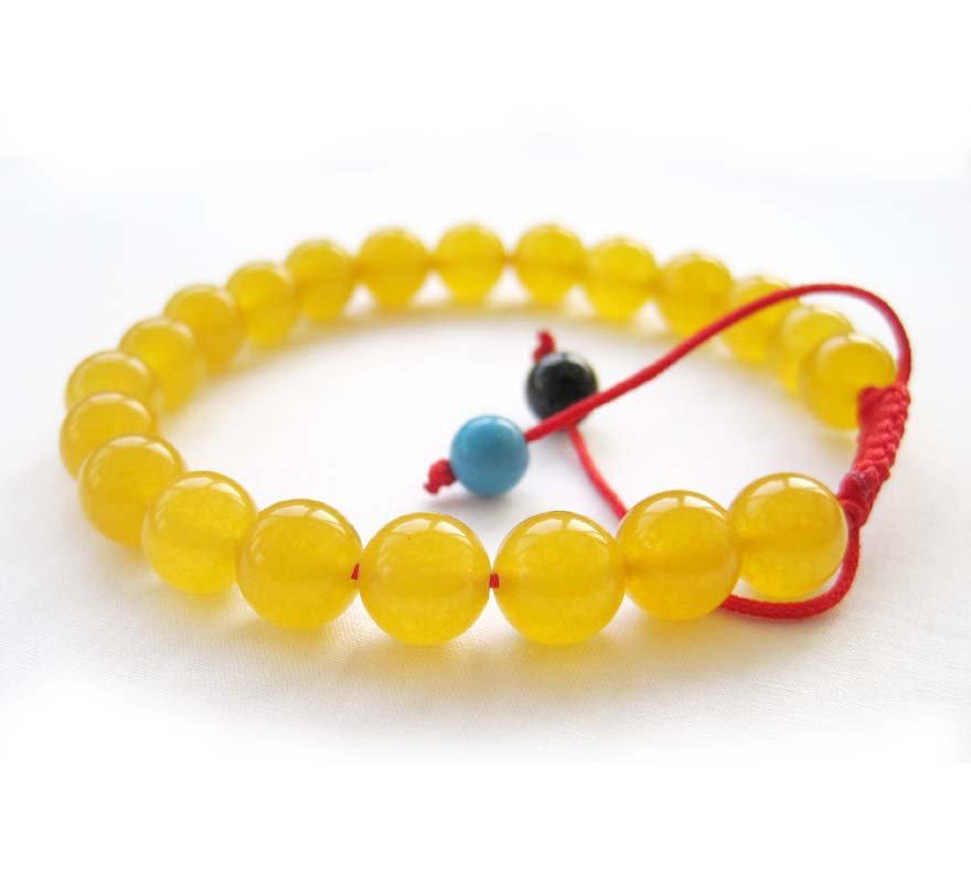 8mm Yellow Jade Beads Bracelet  T2658