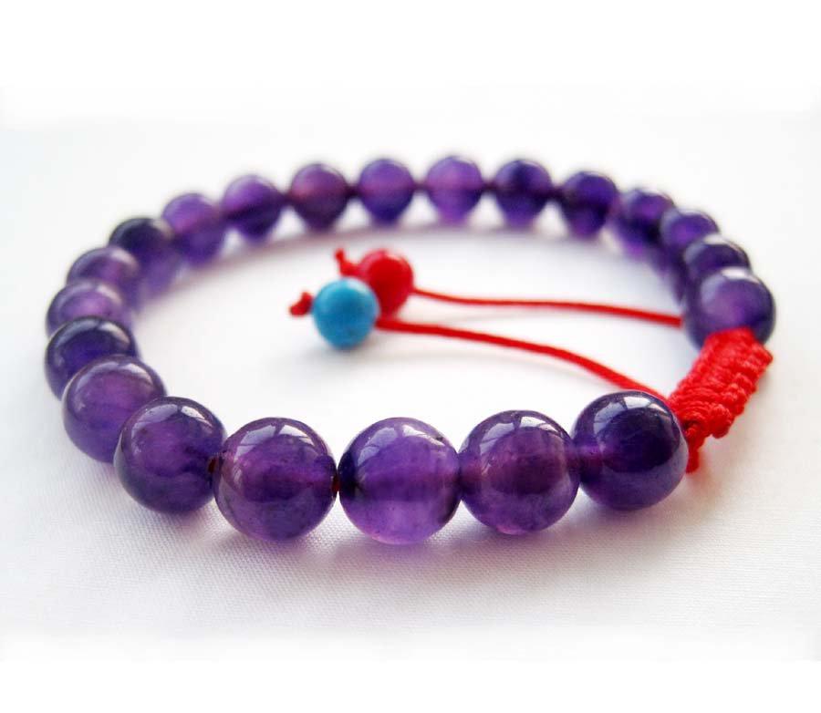8mm Purple Stone Beads Bracelet  T2665