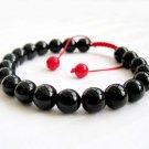 8mm Black Agate Gem Beads Bracelet  T2674
