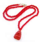 4mm Red Coral Beads Necklace With Buddhist Buddha Amulet Pendant  T2689