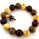 15mm Three Fortune Wood Beads Tibet Buddhist Prayer Mala Bracelet  T2690