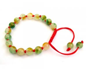 8mm Flower Jade Knot Beads Bracelet  T2692