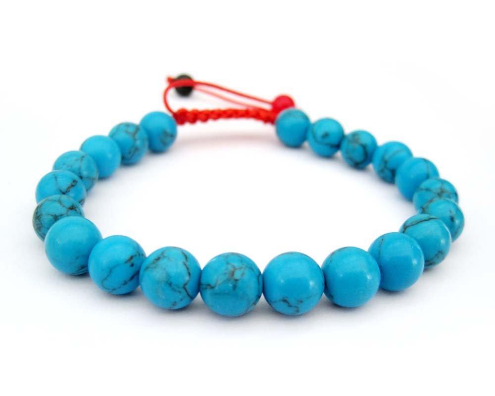 8mm Blue Turquoise Beads Bracelet  T2697