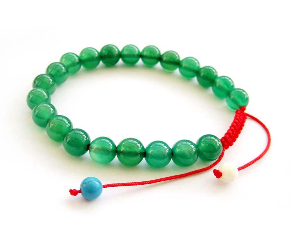 8mm Green Agate Gem Beads Bracelet  T2709