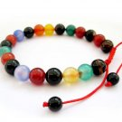 8mm Multi-Color Agate Gem Beads Bracelet  T2715