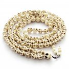 108 White Turquoise Skull Beads Buddhist Prayer Rosary Mala Necklace  ZZ222