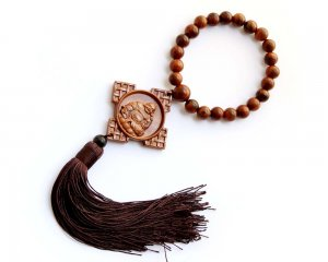 Flower Pear Wood Buddha 2Faces Amulet Pendant Hanging With Mala  T2729