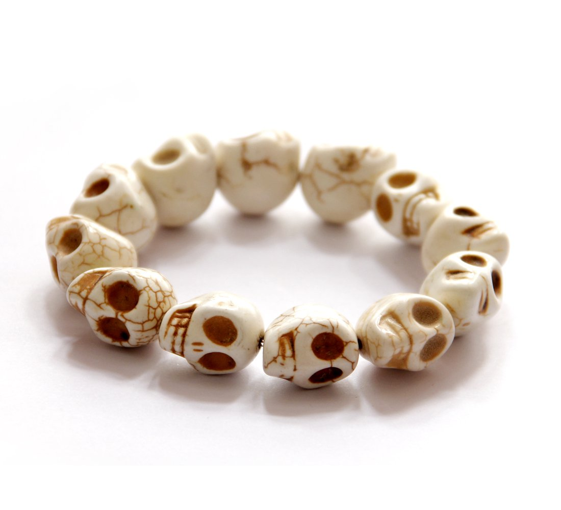 White Turquoise Carved Skull Beads Bracelet  T2746