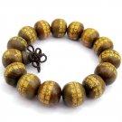 15mm Green Sandalwood Callgraphy Word Buddhist Prayer Bracelet Mala  T2783