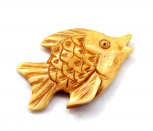 Ox Bone Carved Fish Pendant 40mm*26mm  T2786