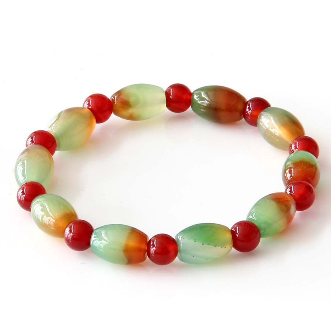 Peacock Stone And Red Agate Beads Bracelet  T2798