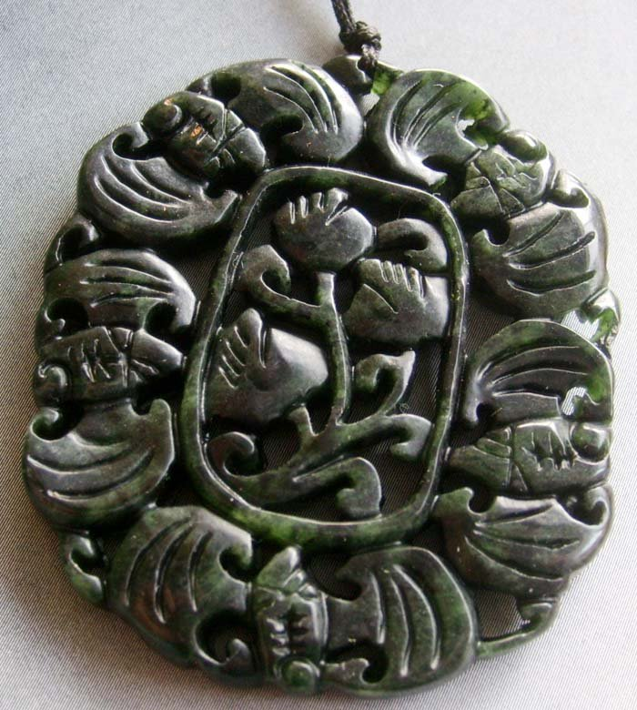 Black Green Jade Five Bats Flower Pendant 53mm*45mm  T1708
