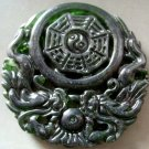 Black Green Jade Dragon Tai-Ji 8-Diagram Amulet Pendant 50mm*50mm  T2161