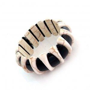 White And Black Turquoise Half-Moon Beads Bracelet  T2814