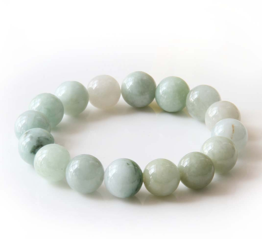 13mm Grade A Jadeite Jade Global Beads Bracelet  T2825