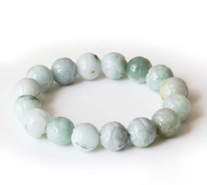 13mm Grade A Jadeite Jade Carved Flower Beads Bracelet  T2826