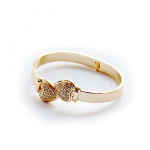 Acrylic Diamond Colorfast Alloy Metal Twin Hearts Bangle Bracelet  T2828