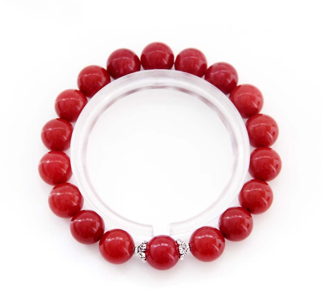 10mm Rose Pink Red Jade Beads Bracelet  T2846