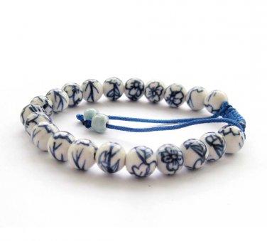 8mm Porcelain Flower Beads Bracelet  T2848