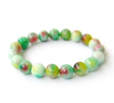 10mm Flower Jade Beads Bracelet  T2897