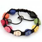 Hand Crafted Multi-Color Turquoise Skull Beads Bracelet  T2926