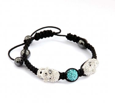 Pave Skyblue Disc Ball Acrylic Diamond Skull Beads Bracelet  T2928