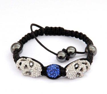 Pave Blue Disc Ball Acrylic Diamond Skull Beads Bracelet  T2931