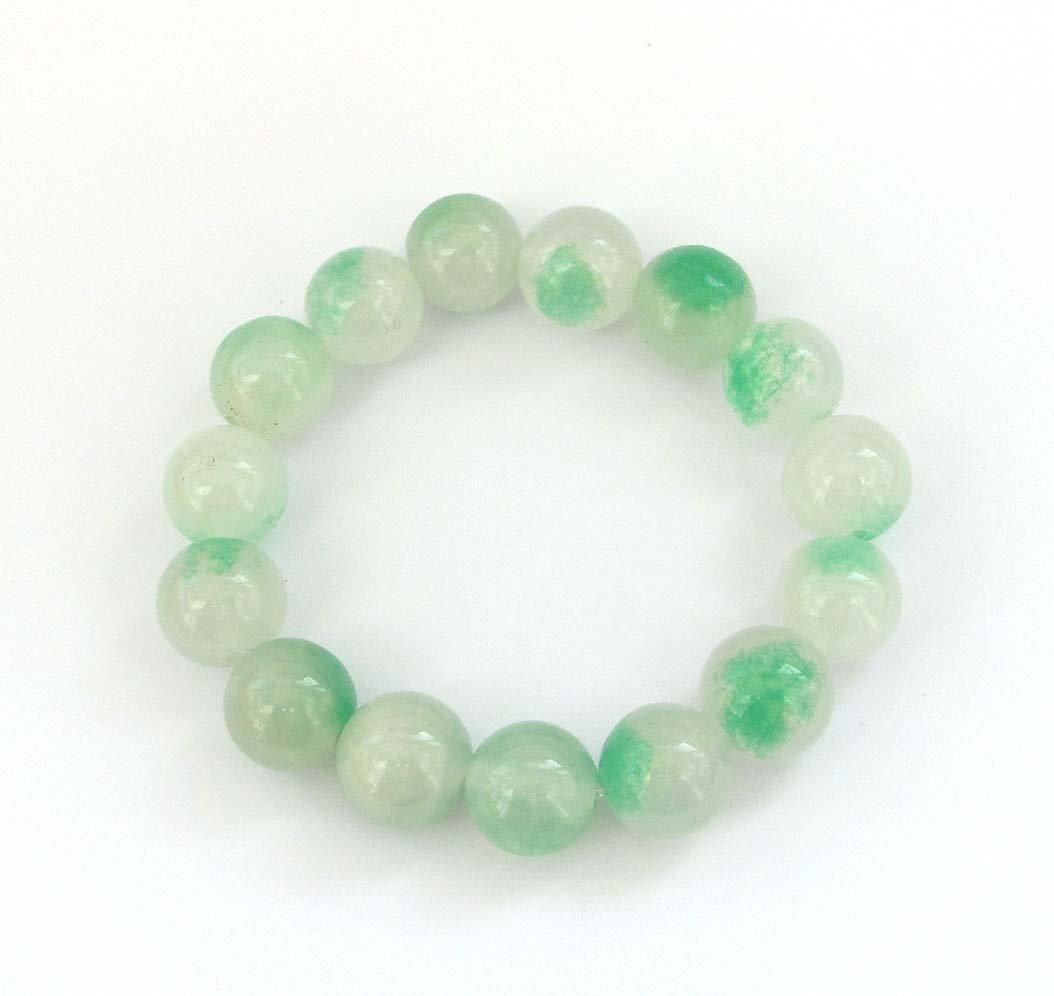 13mm White Green Jade Beads Bracelet  T2937