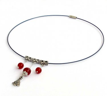 Red Agate Beads Alloy Metal Pendant Chaplet  T2952
