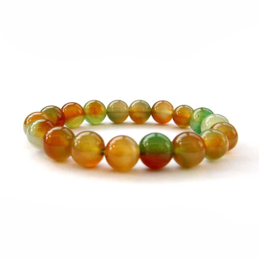 10mm Colorful Agate Gem Beads Bracelet  T2985