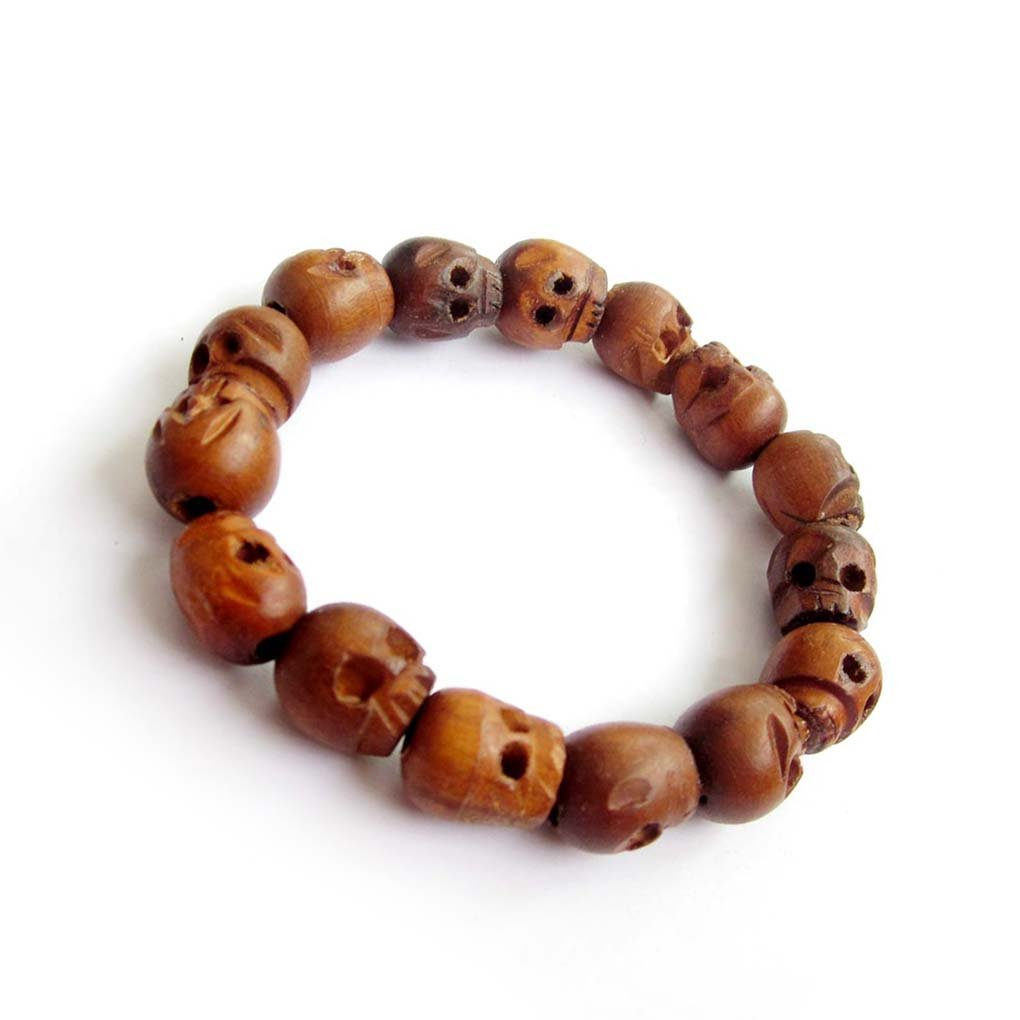 Tibetan Brown Wood Carved Skull Beads Wrist Mala Bracelet  T0015