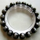10mm Black Agate Beads Tibet Buddhist FO Lotus Bracelet  T1488