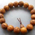 14mm Jujube Wood Chu-Ru-Ping-An Beads Buddhist Prayer Mala Bracelet  T1830