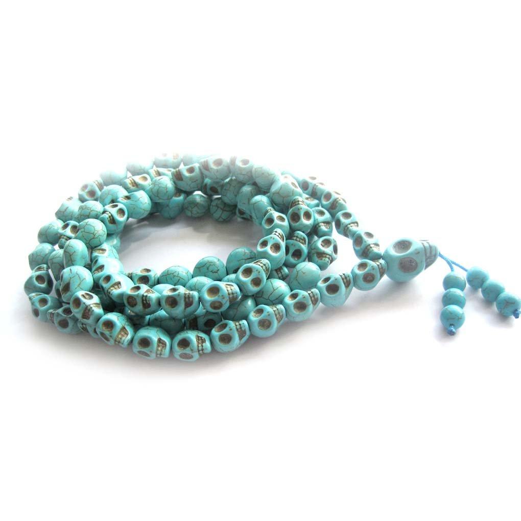 108 Blue Turquoise Skull Beads Buddhist Prayer Mala Necklace  ZZ228