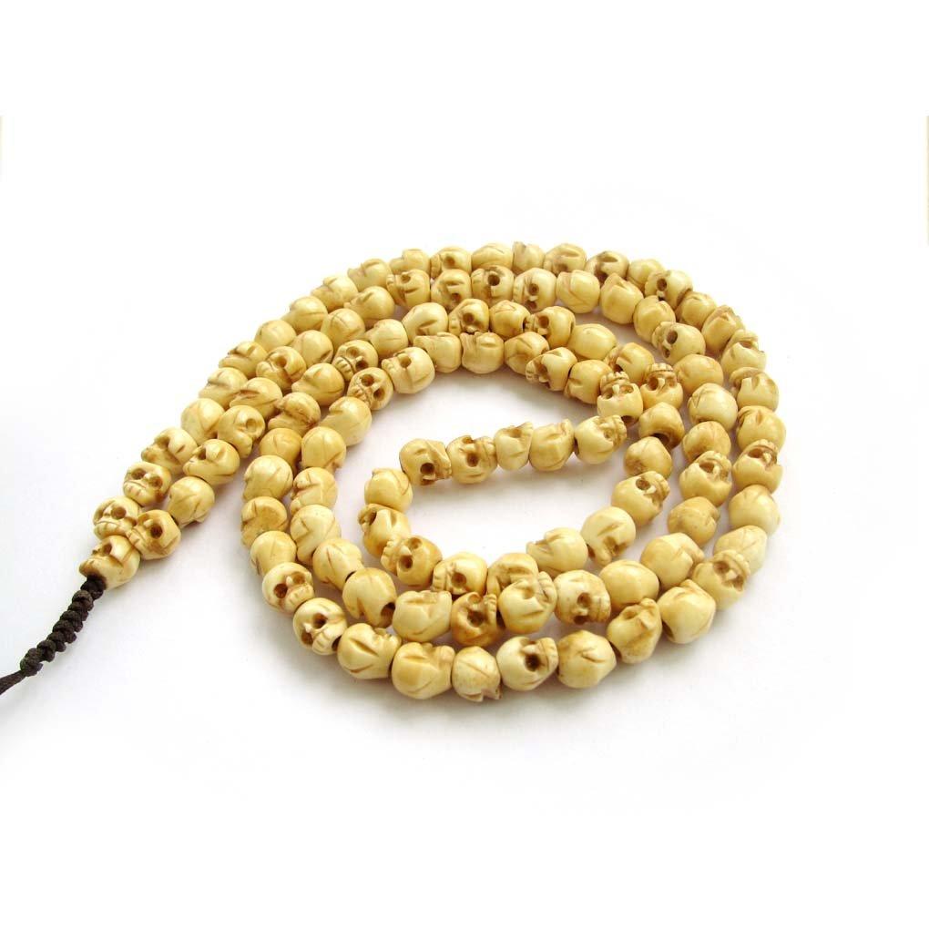 8mm 108 Ox Bone Skull Beads Buddhist Prayer Mala Necklace  ZZ253