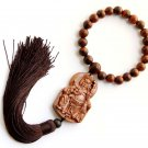 Flower Pear Wood Guan-Gong 2Faces Amulet Pendant Hanging With Mala  T2727