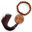 Flower Pear Wood Coin Style 2Faces Amulet Pendant Hanging With Mala  T2728