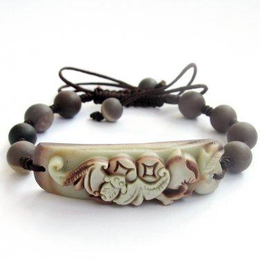 Zipao Jade Fortune Bat Peach Coin Bead Beads Bracelet  T2123