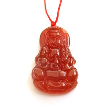 Red Agate Tibet Kwan-Yin Guanyin Amulet Pendant 40mm*25mm  T3002