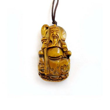 Tiger Eye Gem Han Dynasty Guan-Gond Amulet Pendant 36mm*20mm  T3004