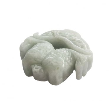 Natural Jadeite Jade Twin Fishes PING-AN Coins 2Faces Amulet Pendant 47mm*46mm  T3007