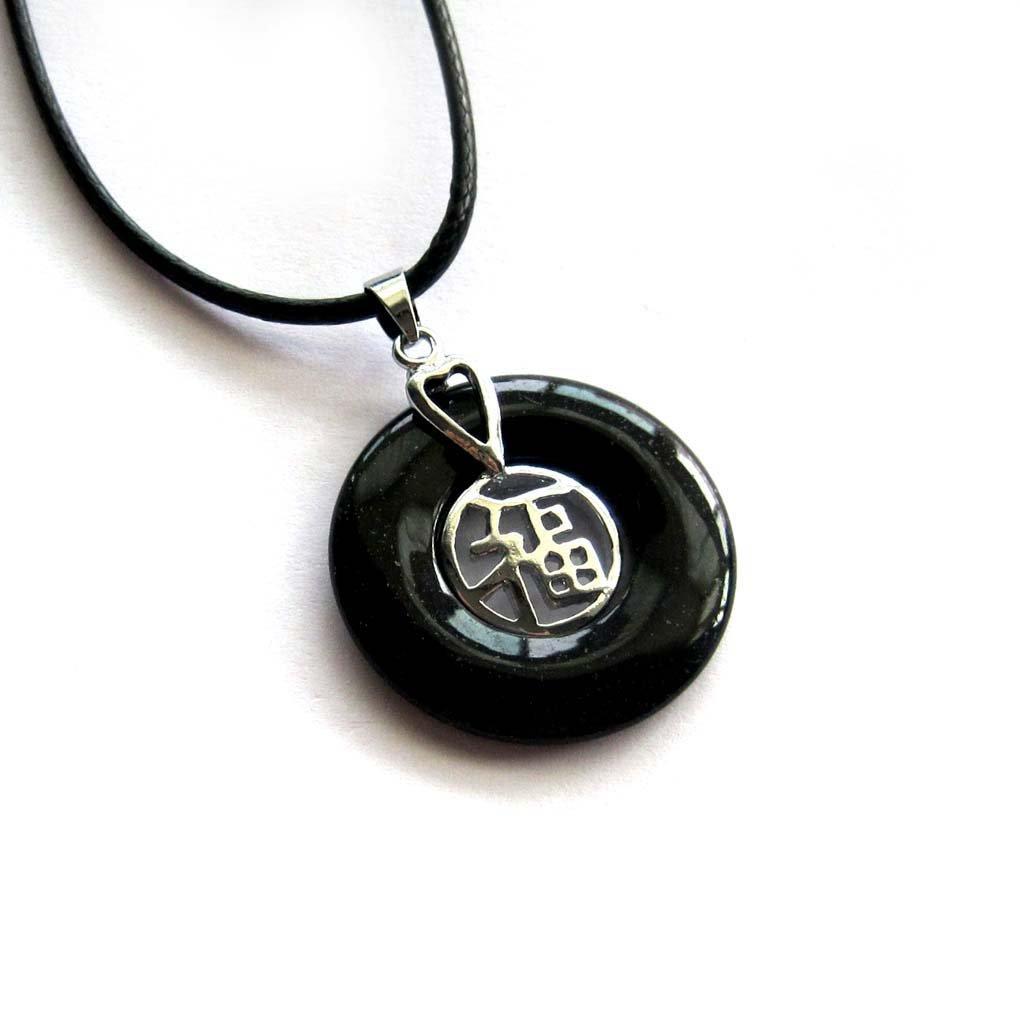 Black Jade Alloy Metal Good Blessing FU Amulet Pendant 25mm*25mm  T3011