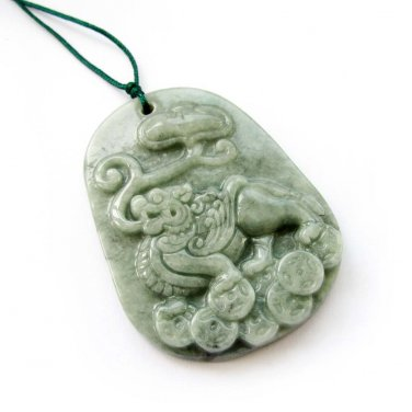 Natural Jadeite Lucky Pi-Xiu Dragon Ru-Yi Coins Amulet Pendant 52mm*39mm  T3018