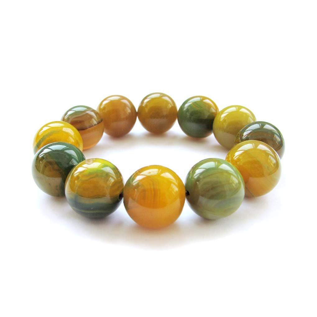 Yellow Green Onyx Agate Gem Beads Bracelet  T3023